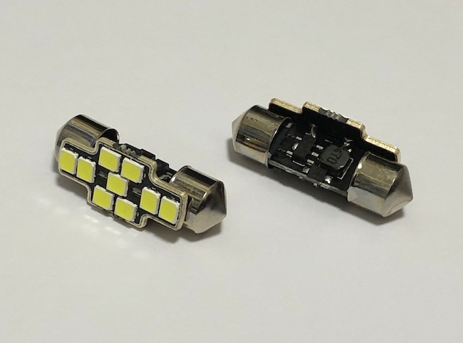 T10 x 31mm/Epistar 2835 Super Bright LED(400LM)/単品 1個(昼白色 6000K)12V車・24V車 兼用